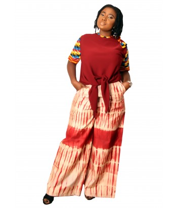 Bami African Two Piece Set of Palazzo and Kente Top - Front View
