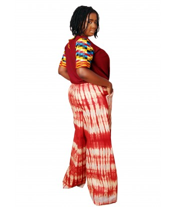 Bami African Two Piece Set of Palazzo and Kente Top - Side View