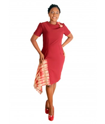 Adire Tie and dye Drape dress - Front view