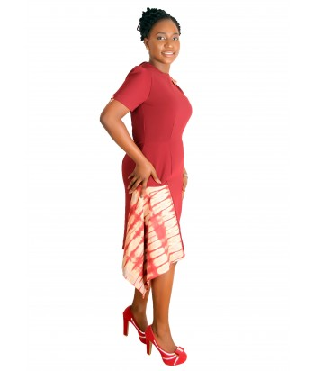 Adire Tie and dye Drape dress - Side view