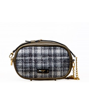 Black & White Tartan with Olive Green Leather
