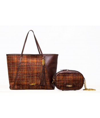 Rust tartan with Chocolate leather shown with the Rust Tote (sold separately)