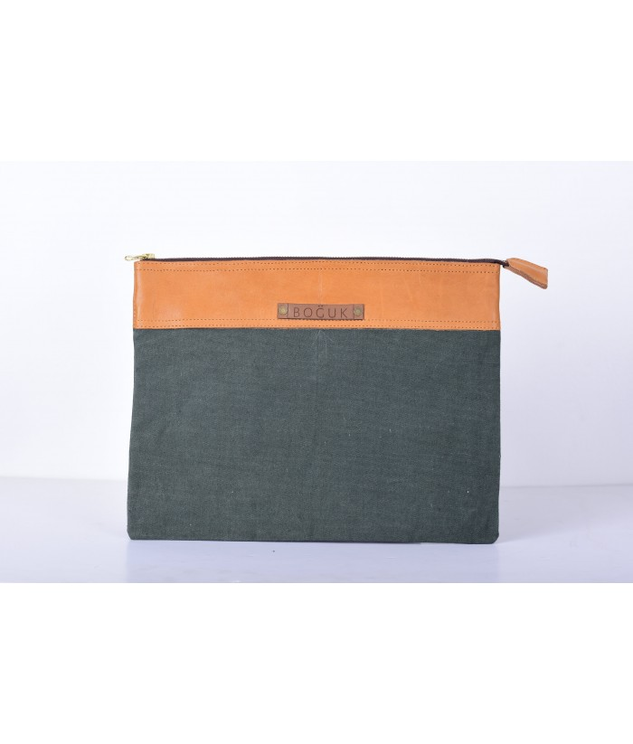 Tan Leather/Green Canvas 13' Laptop Sleeve