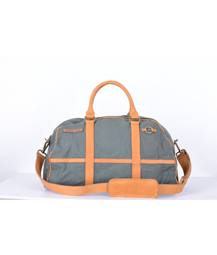 Olive Green Canvas/Tan Leather Duffle
