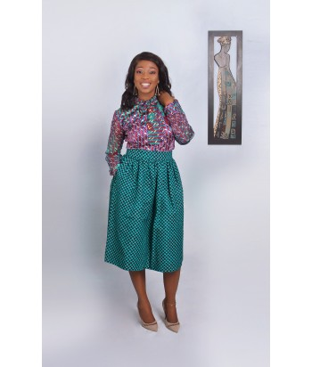 African Wax Print Pussybow Shirt and Skirt