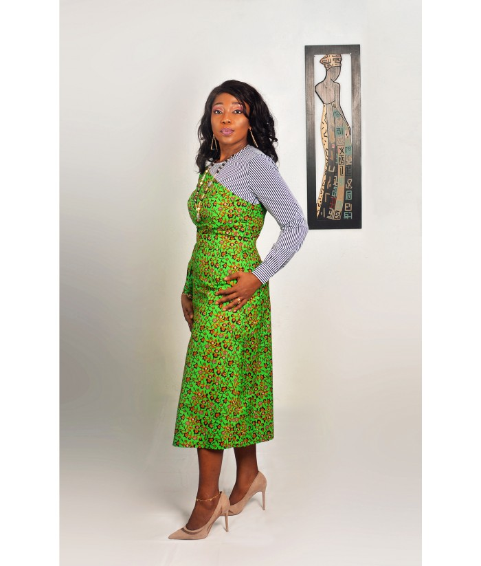 African Print Cotton Striped Top and Midi Skirt