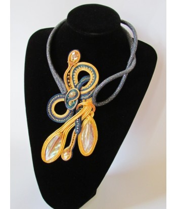 Yellow and Navy Blue Shell Necklace
