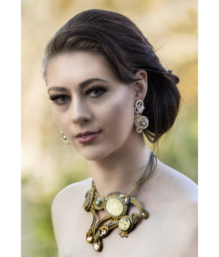 Matte gold and Silver Grey Statement Necklace