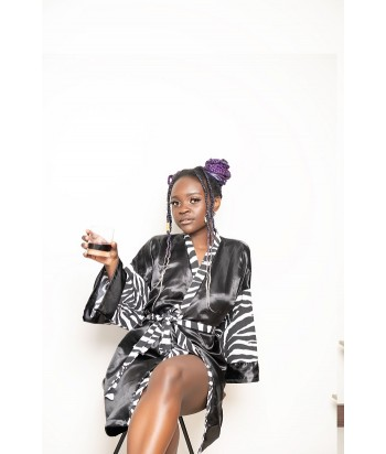 Adimu - Black with Zebra Print Satin Dressing Gown