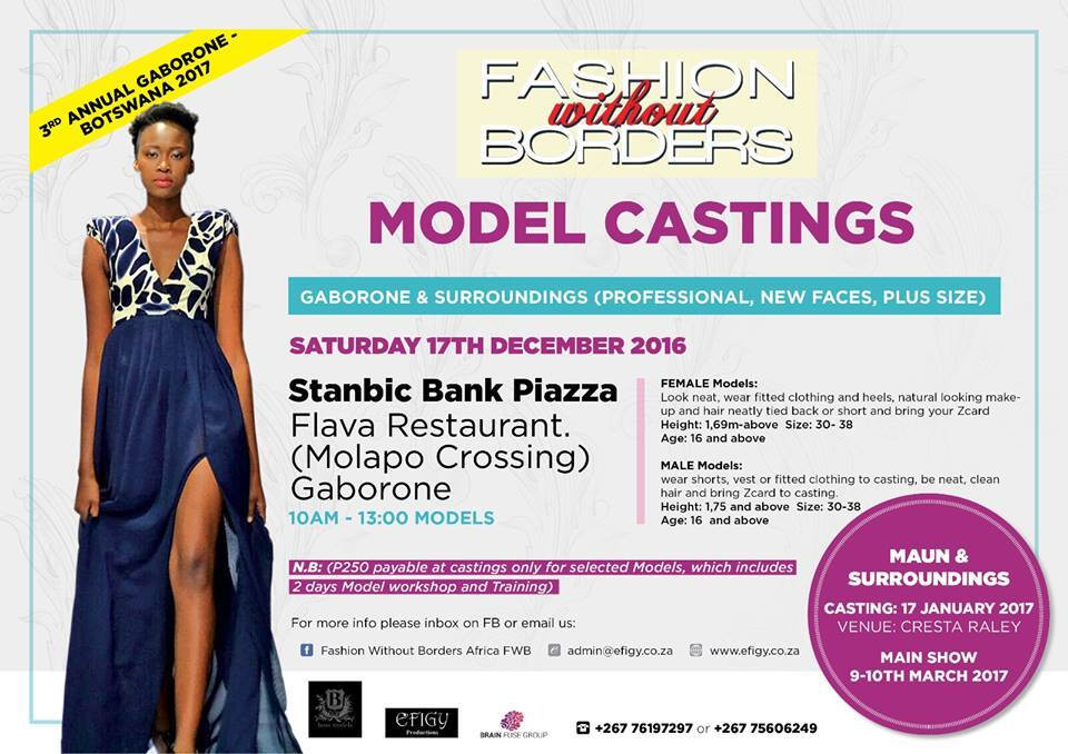 Model Casting For Fashion Without Borders -  Botswana 2017